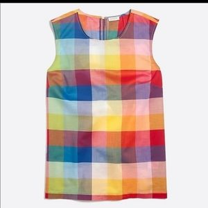J. Crew Rainbow Gingham Check Sleeveless Blouse